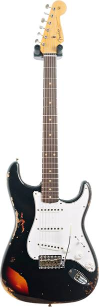 Fender Custom Shop 1961 Stratocaster Heavy Relic Black over 3 Tone Sunburst Rosewood Fingerboard Master Builder Designed by Dale Wilson #R96926