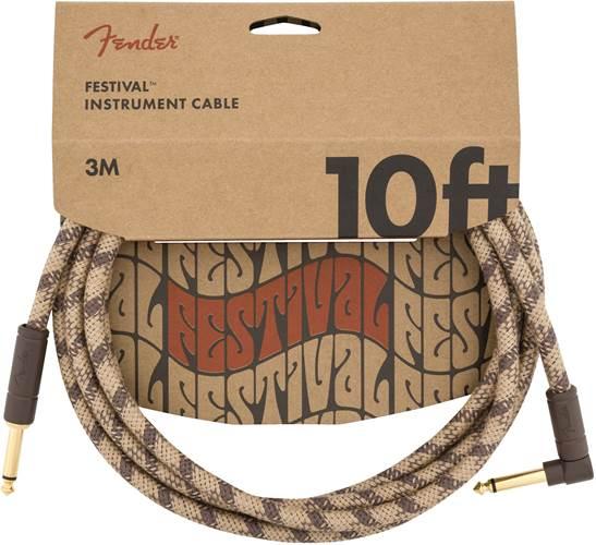 Fender Festival 10ft Instrument Cable, Brown Stripe Pure Hemp