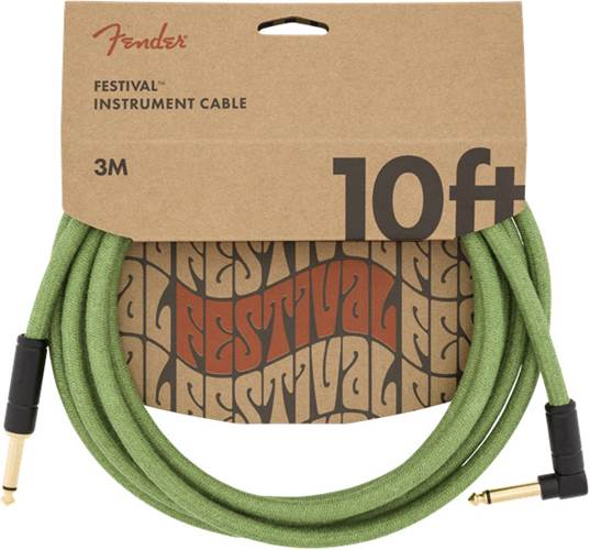 Fender Festival 10ft Instrument Cable, Green Pure Hemp
