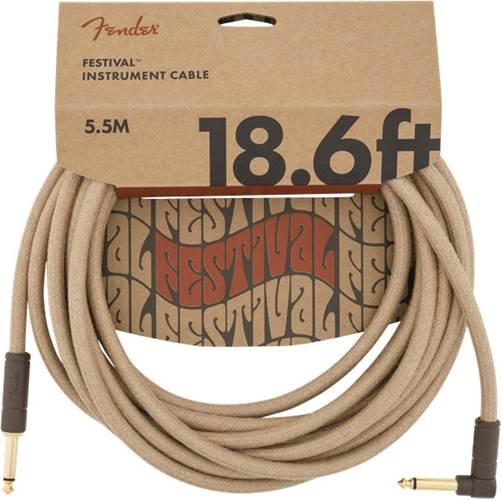 Fender Festival 18.6ft Instrument Cable, Natural Pure Hemp