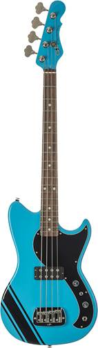 G&L USA Fallout Bass Miami Blue with Black Racing Stripe