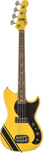 G&L USA Fallout Short Scale Bass Racing Yellow with Black Racing Stripe