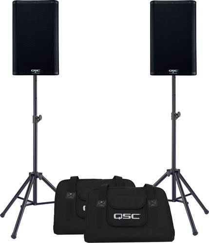 QSC K8.2 Pair with Tote Bags and Stands