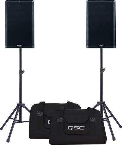 QSC K10.2 Pair with Tote Bags and Stands