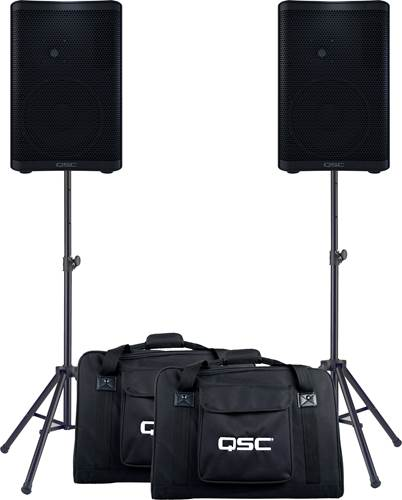 QSC CP8 Pair with Tote Bags and Stands