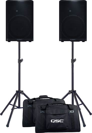QSC CP12 Pair with Tote Bags and Stands