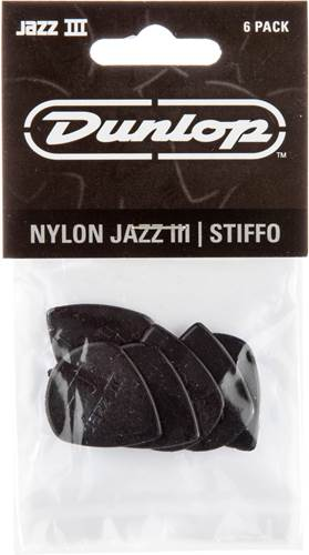 Dunlop 47P3S Nylon Jazz III Black Stiffo 1.38mm 6 Pick Play/Pack