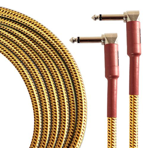 TOURTECH TTGC-20-BTW-RR 6m/20ft Braided Tweed Right Angle to Right Angle Guitar Cable