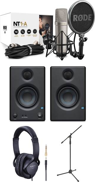 Rode NT1-A Vocal Recording Pack with Mic Stand, Headphones and Presonus Eris E3.5