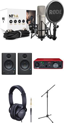 Rode NT1-A Vocal Recording Pack with Mic Stand, Headphones, Presonus Eris E3.5 and Focusrite Scarlet Solo 3rd Gen