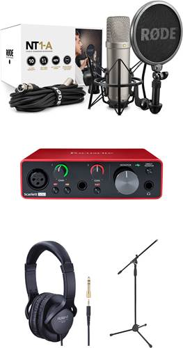 Rode NT1-A Vocal Recording Pack with Mic Stand, Headphones, and Focusrite Scarlet Solo 3rd Gen