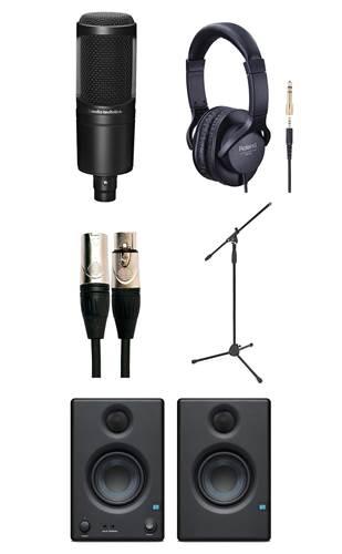 Audio Technica AT2020 Vocal Recording Pack with Mic Stand, Headphones, and Presonus Eris 3.5 (Pair)