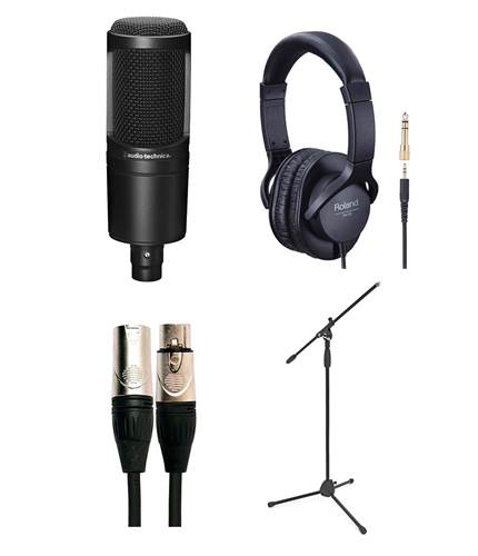 Audio Technica AT2020 Vocal Recording Pack with Mic Stand and Headphones