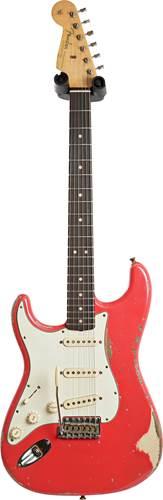 Fender Custom Shop 1963 Stratocaster Heavy Relic Fiesta Red over Desert Sand Master Built by Jason Smith Left Handed #R1082664