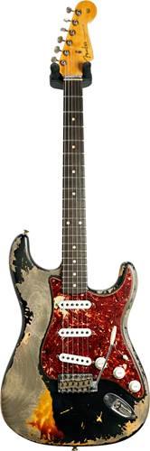 Fender Custom Shop 1960 Stratocaster Super Heavy Relic Black over 3 Tone Sunburst #R110230