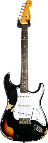 Fender Custom Shop 1961 Stratocaster Heavy Relic Black over 3 Tone Sunburst #R110085