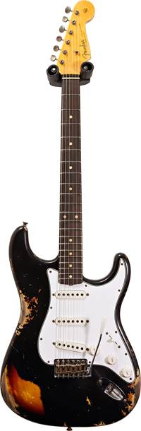 Fender Custom Shop 1961 Strat Heavy Relic Black over 3 Tone Sunburst  #R108056