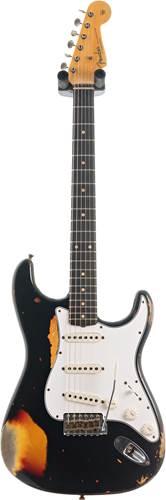 Fender Custom Shop 1961 Stratocaster Heavy Relic Black over 3 Tone Sunburst #R113171