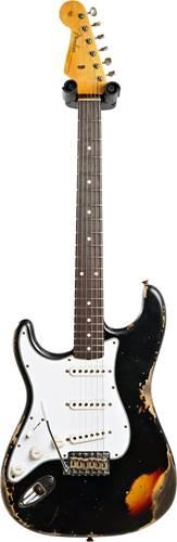Fender Custom Shop 1961 Stratocaster Heavy Relic Black over 3 Tone Sunburst Left Handed #R109222