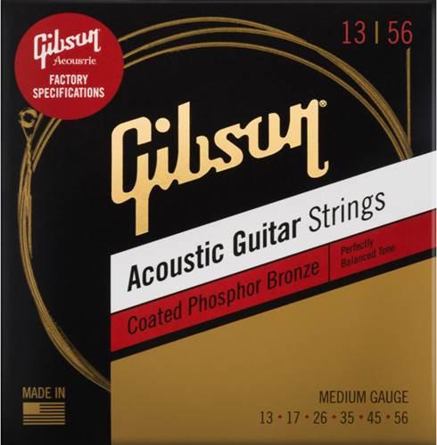 Gibson Coated Phosphor Bronze Acoustic Guitar Strings Medium 13-56