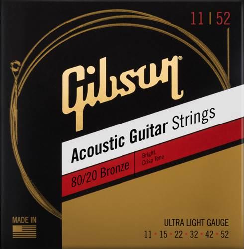 Gibson 80/20 Bronze Acoustic Guitar Strings Ultra-Light 11-52