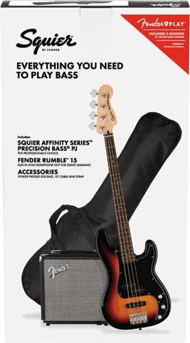 Squier Affinity Precision Bass PJ Pack 3 Colour Sunburst
