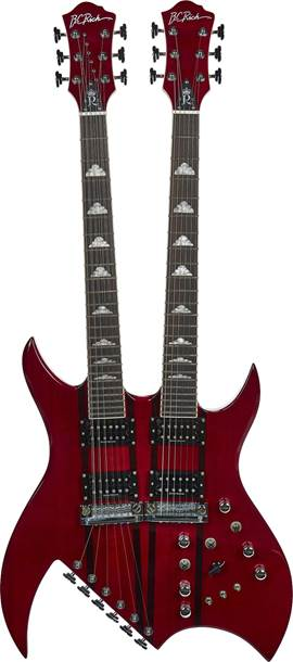 BC Rich B Legacy Double Neck Transparent Red
