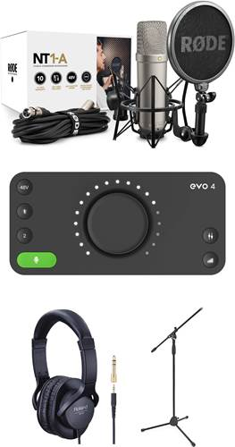 Rode NT1-A Vocal Recording Pack with Mic Stand, Headphones and Audient EVO 4