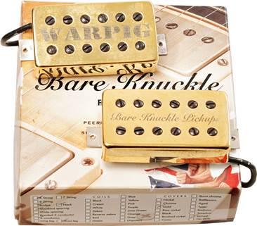 Bare Knuckle Warpig Calibrated Humbucker Set 4 Conductor Standard Spacing Short Leg Alnico V Gold Covered WARPIG and BKP etched (Pre-Owned)
