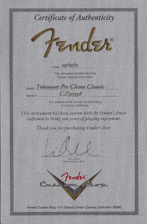 fender custom shop 2011 telecaster pro white blonde mn cz517358  b
