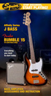 Squier Start Playing Jazz Bass Brown Sunburst Pack With Rumble 15 Amp